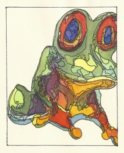 Frog 4x6 watercolor by Mary Prater