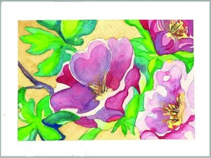 Shrub Rose Notecard by Mary Prater