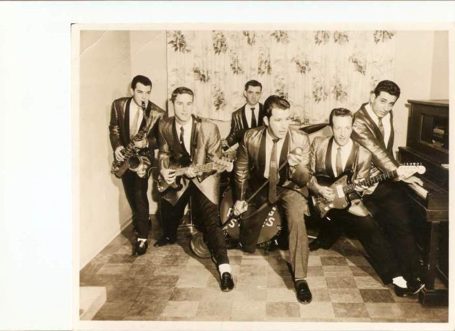 From Left: Audrey Dale Petrie, sax, William 'Cuz' Covington, bass guitar, Jimmy Whitehead, drums, Andy Anderson, guitar, Joe Tubb, guitar and Sammy Martina, piano. Approximate date 1960. Photo coourtesy of Johnny Sumrall